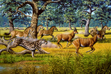 Sabre-toothed Cat Chasing Prey