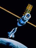Space Shuttle In Orbit Near Mir Space Station