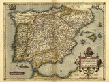 Ortelius's Map of Iberian Peninsula  1570