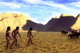 Prehistoric Humans Hunting  Artwork