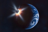 Asteroid Impacting the Earth  Artwork