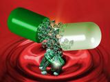 Computer Artwork of Nanorobots In a Drug Capsule