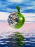 Computer Artwork of Half Earth And Half Apple