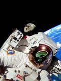 Computer Artwork of UFOs In An Astronaut's Visor