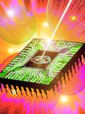 Computer Artwork of Light Hitting Eye In Microchip