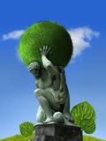Atlas Carrying a Green Planet  Artwork