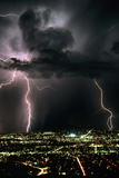 Lightning Strikes At Night In Tucson  Arizona  USA