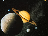 Voyager I Composite of Saturn & Six of Its Moons