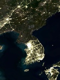 Korea At Night  Satellite Image