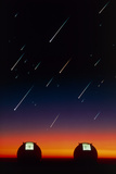 Telescope Domes on Mauna Kea with Meteors