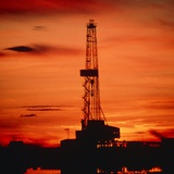 Oil Drilling Rig  Russia  At Sunset