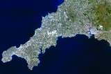 True-colour Satellite Image of Cornwall  UK