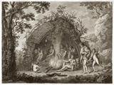 Fuegans In Their Hut  18th Century
