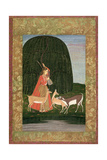 Pd201-1948 Girl Playing a Vina with Three Antelopes  or an Allegory on the Power of Love  Mughal…
