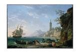 A Coastal Mediterranean Landscape with a Dutch Merchantman in a Bay  1769
