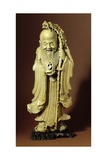 Figure of Shou Lao  the Chinese God of Longevity  Holding a Staff and a Peach from Which a Crane…