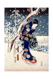 Snow Scene in the Garden of a Daimyo  Part of Triptych