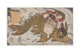 P375-1937 Oniwaka Mara (Little Demon) Overcoming a Giant Carp  Surimono Diptych  Scene from the…
