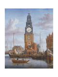 View of the Haringspacker Tower in Amsterdam  with a Working Clock-Face Set into the Painting  1684