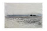 Grey Sea  Boat Running Ashore  C1840