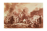 Pulling Down the Statue of George III in the Bowling Green in 1776  Engraved by John C Mcrae