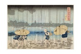 Shower on the Banks of the Sumida River at Ommaya Embankment in Edo  C1834