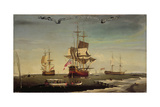 The Whaling Fleet of Sir Samuel Standidge  Hull School of Painting  1769
