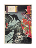 Yoshitsune  with Benkei and Other Retainers in their Ship Beset by the Ghosts of Taira  1853