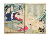 A 'Shunga' (Erotic Print)  from 'Manpoku Wago-Jin: Two Pairs of Lovers  1821