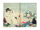 A 'Shunga' (Erotic Print)  from 'Manpoku Wago-Jin': Lovers and a Wine Jar  1821