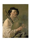 A Man Playing the Bagpipes  17th Century
