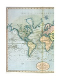 "Map of the World: Western Half of ""A New Chart of the World  on Mercator's Projection  Exhibiting…"
