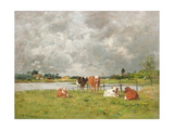 Cows in a Field under a Stormy Sky  1877