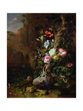 Tree Trunk Surrounded by Flowers  Butterflies and Animals  1685