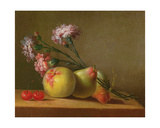 Carnations  Pears  Cherries and Apple on a Table