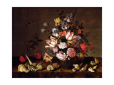 Still Life of a Vase of Flowers with Shells