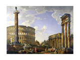 Roman Capriccio Showing the Colosseum  Borghese Warrior  Trajan's Column  the Dying Gaul  Tomb of…