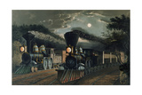 The 'Lightning Express' Trains  Pub by Currier and Ives  New York  1863