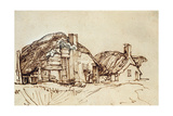 Two Thatched Cottages with Figures at the Window
