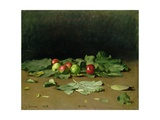 Still Life of Apples and Leaves  1879