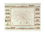 Plan of Paris Indicating Civil Hospitals and Homes  1818  Published in 1820