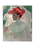 Woman with Red Hat and Parasol