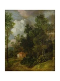 Wooded Landscape with Country House and Two Figures  C1752