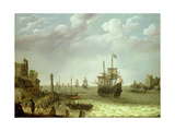 Settlement on a Rocky Shore with the Dutch Fleet Approaching  1640