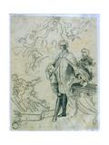 Sketch of Carlo Broschi 'Il Farinelli' (1705-82)