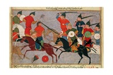 Ms Pers113 F49 Genghis Khan (C1162-1227) in Battle  from a Book by Rashid-Al-Din (1247-1318)