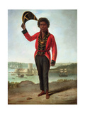 Portrait of Bungaree  a Native of New South Wales  with Fort Macquarie  Sydney Harbour in the…