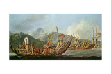 Tahitian War Canoes in 1774 James Cook Witnessed a Review of the Fleet Consisting of 160 Big War…