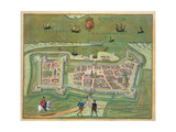 Map of Calais  from 'Civitates Orbis Terrarum' by Georg Braun (1541-1622) and Frans Hogenberg…