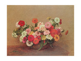 Zinnias in a Glass Bowl  1886